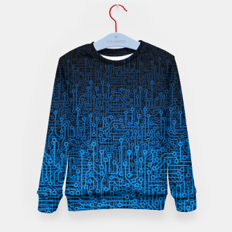 Thumbnail image of Reboot III BLUE Computer Circuit Board Pattern Kid's sweater, Live Heroes