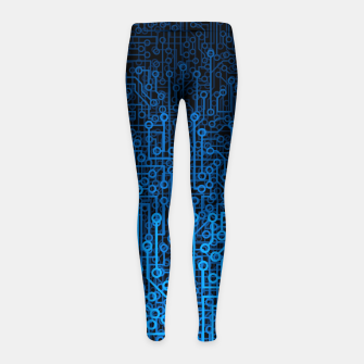 Thumbnail image of Reboot III BLUE Computer Circuit Board Pattern Girl's leggings, Live Heroes