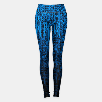 Thumbnail image of Reboot III BLUE Computer Circuit Board Pattern Leggings, Live Heroes