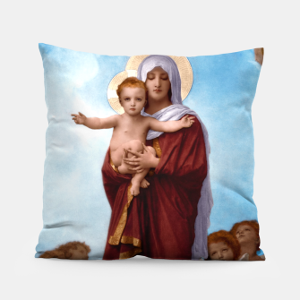 Thumbnail image of Our Lady of the Angels by William-Adolphe Bouguereau Colorized Old Masters Classical Art Reproduction Pillow, Live Heroes