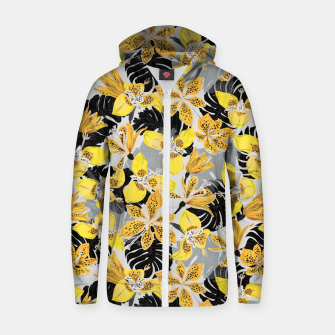 Yellow tropical bloom 89 Sudadera con capucha y cremallera  thumbnail image