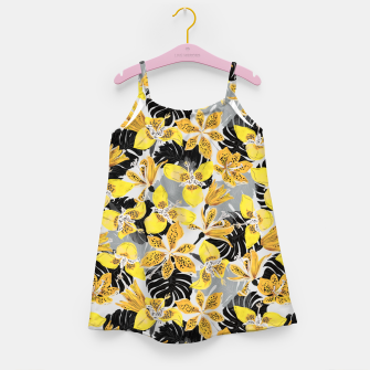 Thumbnail image of Yellow tropical bloom 89 Vestido para niñas, Live Heroes