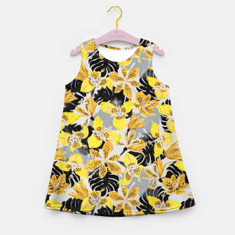 Thumbnail image of Yellow tropical bloom 89 Vestido de verano para niñas, Live Heroes