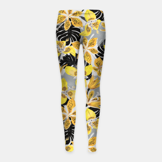 Thumbnail image of Yellow tropical bloom 89 Leggings para niña, Live Heroes