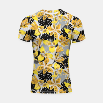 Thumbnail image of Yellow tropical bloom 89 Shortsleeve rashguard, Live Heroes