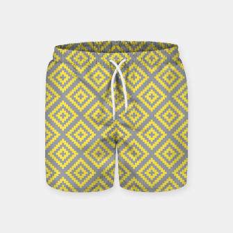 Thumbnail image of Yellow and Gray Pattern I Swim Shorts, Live Heroes