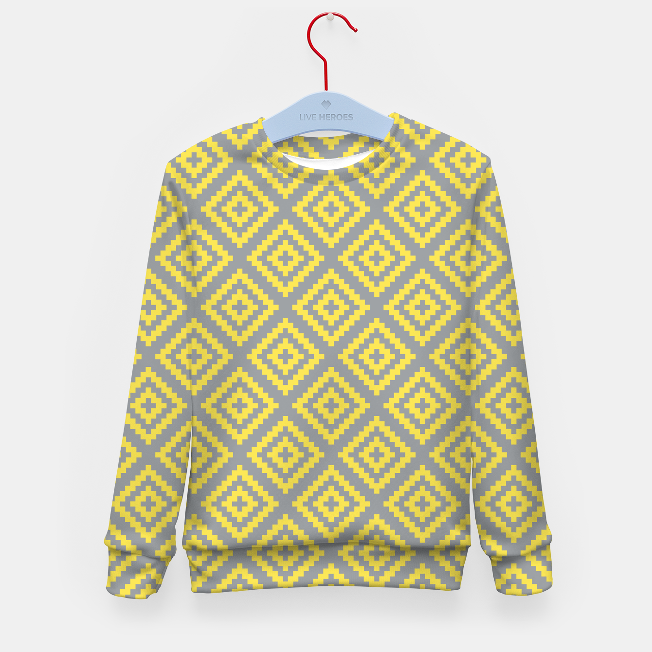 Zdjęcie Yellow and Gray Pattern I Kid's sweater - Live Heroes