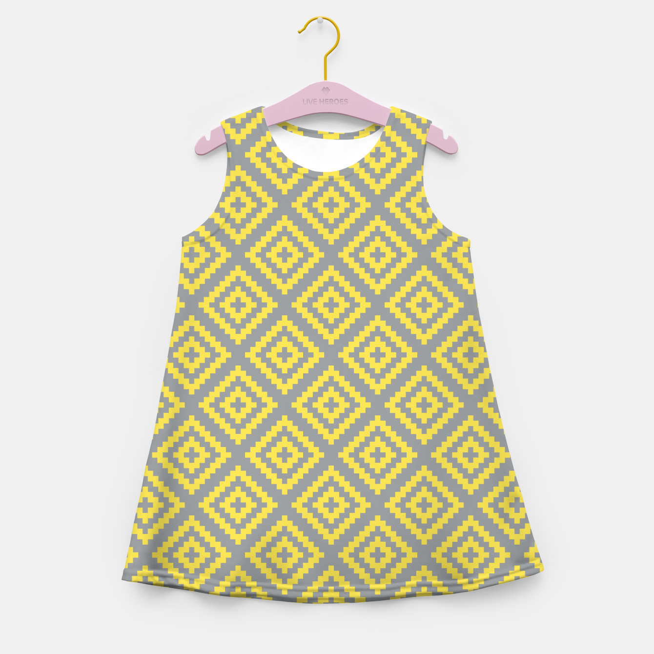 Zdjęcie Yellow and Gray Pattern I Girl's summer dress - Live Heroes