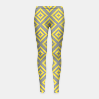 Yellow and Gray Pattern I Girl's leggings obraz miniatury