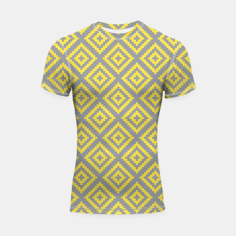 Thumbnail image of Yellow and Gray Pattern I Shortsleeve rashguard, Live Heroes
