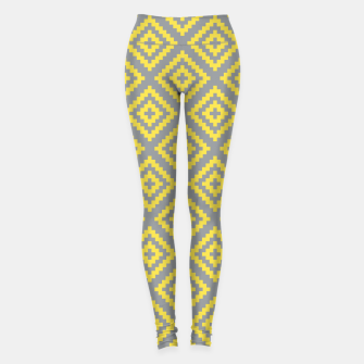 Yellow and Gray Pattern I Leggings obraz miniatury