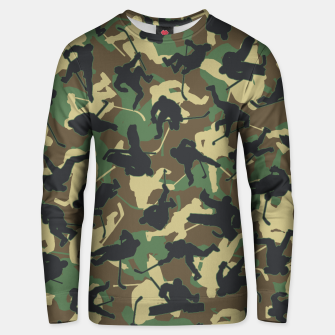 Thumbnail image of Ice Hockey Player Camo Woodland Forest Camouflage Pattern Unisex sweater, Live Heroes