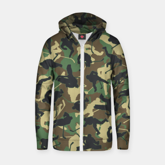 Thumbnail image of Ice Hockey Player Camo Woodland Forest Camouflage Pattern Zip up hoodie, Live Heroes