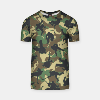 Thumbnail image of Ice Hockey Player Camo Woodland Forest Camouflage Pattern T-shirt, Live Heroes