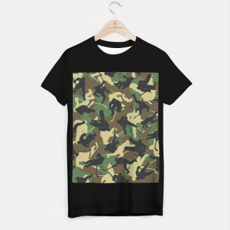 Thumbnail image of Ice Hockey Player Camo Woodland Forest Camouflage Pattern T-shirt regular, Live Heroes