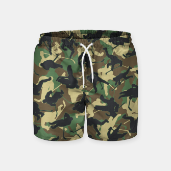 Thumbnail image of Ice Hockey Player Camo Woodland Forest Camouflage Pattern Swim Shorts, Live Heroes