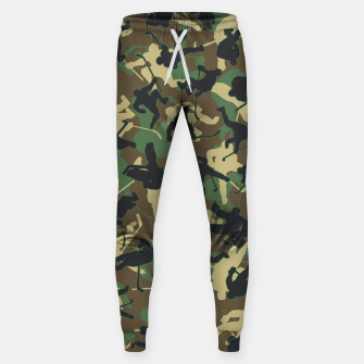 Thumbnail image of Ice Hockey Player Camo Woodland Forest Camouflage Pattern Sweatpants, Live Heroes