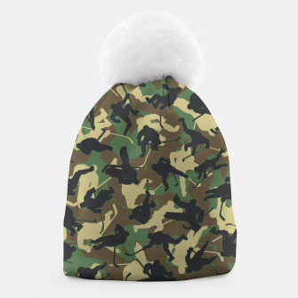 Thumbnail image of Ice Hockey Player Camo Woodland Forest Camouflage Pattern Beanie, Live Heroes
