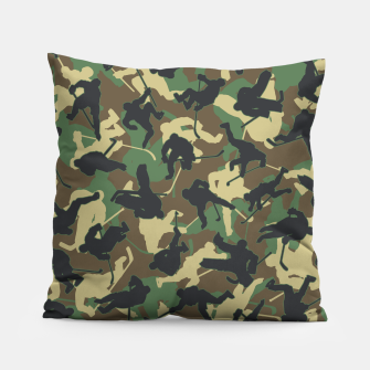 Thumbnail image of Ice Hockey Player Camo Woodland Forest Camouflage Pattern Pillow, Live Heroes