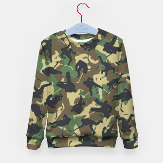 Thumbnail image of Ice Hockey Player Camo Woodland Forest Camouflage Pattern Kid's sweater, Live Heroes