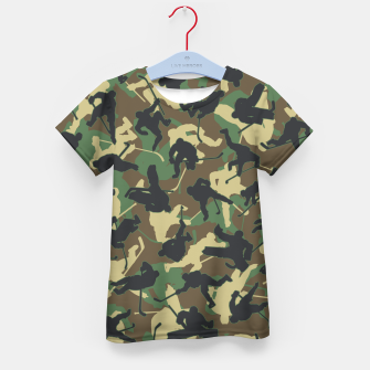 Thumbnail image of Ice Hockey Player Camo Woodland Forest Camouflage Pattern Kid's t-shirt, Live Heroes