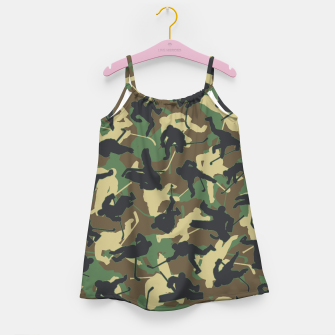 Thumbnail image of Ice Hockey Player Camo Woodland Forest Camouflage Pattern Girl's dress, Live Heroes