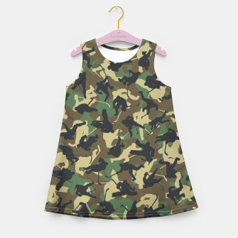Thumbnail image of Ice Hockey Player Camo Woodland Forest Camouflage Pattern Girl's summer dress, Live Heroes