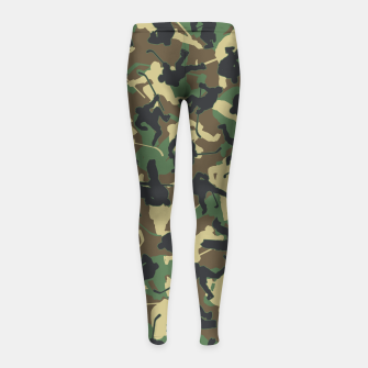Miniature de image de Ice Hockey Player Camo Woodland Forest Camouflage Pattern Girl's leggings, Live Heroes
