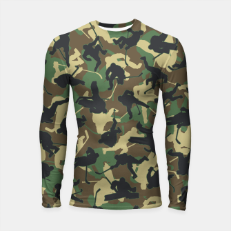 Thumbnail image of Ice Hockey Player Camo Woodland Forest Camouflage Pattern Longsleeve rashguard , Live Heroes