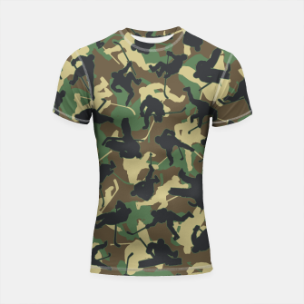 Thumbnail image of Ice Hockey Player Camo Woodland Forest Camouflage Pattern Shortsleeve rashguard, Live Heroes