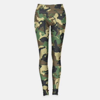 Thumbnail image of Ice Hockey Player Camo Woodland Forest Camouflage Pattern Leggings, Live Heroes