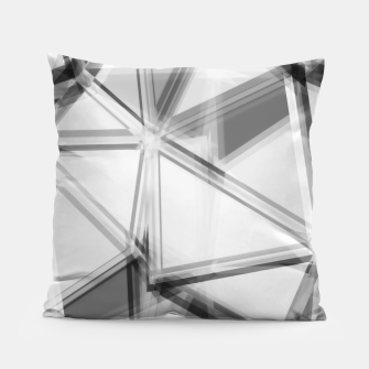 Miniaturka geometric triangle abstract background in black and white Pillow, Live Heroes