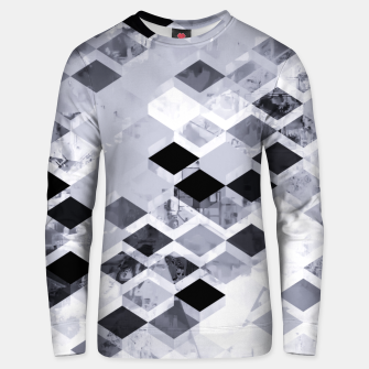 Thumbnail image of geometric square pattern abstract background in black and white Unisex sweater, Live Heroes
