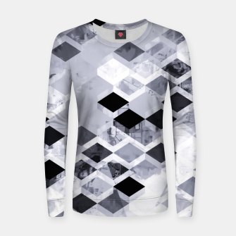 Thumbnail image of geometric square pattern abstract background in black and white Women sweater, Live Heroes