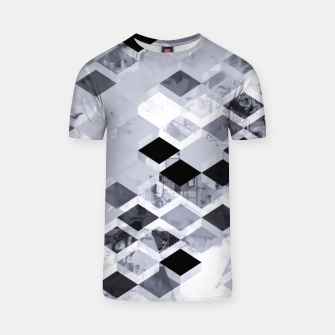 Thumbnail image of geometric square pattern abstract background in black and white T-shirt, Live Heroes