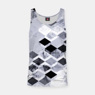 Thumbnail image of geometric square pattern abstract background in black and white Tank Top, Live Heroes