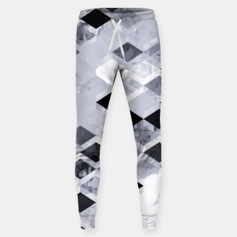 Thumbnail image of geometric square pattern abstract background in black and white Sweatpants, Live Heroes