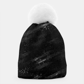 painting texture abstract background in black and white Beanie miniature