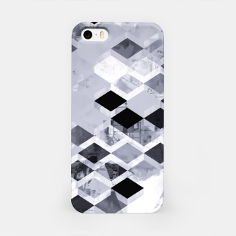 Thumbnail image of geometric square pattern abstract background in black and white iPhone Case, Live Heroes