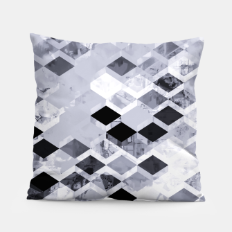 Thumbnail image of geometric square pattern abstract background in black and white Pillow, Live Heroes