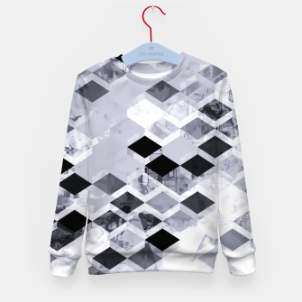 Thumbnail image of geometric square pattern abstract background in black and white Kid's sweater, Live Heroes