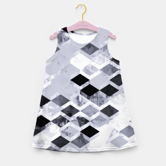 Thumbnail image of geometric square pattern abstract background in black and white Girl's summer dress, Live Heroes
