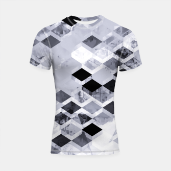 Thumbnail image of geometric square pattern abstract background in black and white Shortsleeve rashguard, Live Heroes