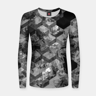 geometric square pattern abstract background in black and white Women sweater thumbnail image
