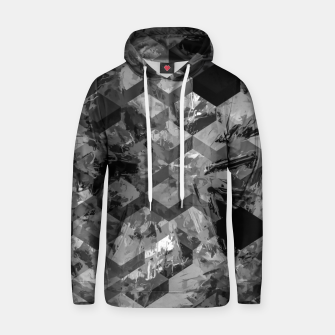 geometric square pattern abstract background in black and white Hoodie thumbnail image
