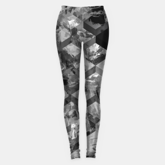 geometric square pattern abstract background in black and white Leggings thumbnail image