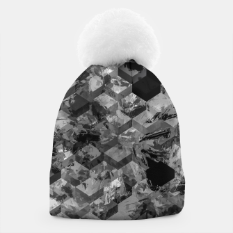 geometric square pattern abstract background in black and white Beanie thumbnail image