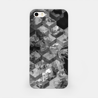 geometric square pattern abstract background in black and white iPhone Case thumbnail image