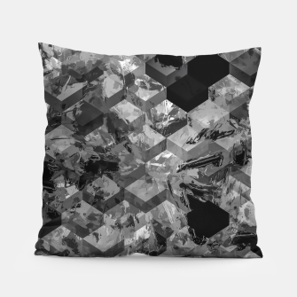 geometric square pattern abstract background in black and white Pillow thumbnail image