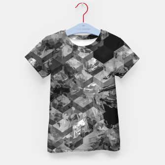 geometric square pattern abstract background in black and white Kid's t-shirt thumbnail image